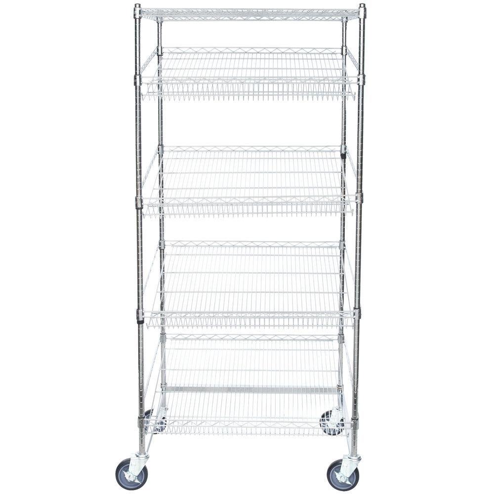 Regency Chrome 5-Shelf Angled Mobile Merchandising Rack - 24 inch x 36 inch x 69 inch