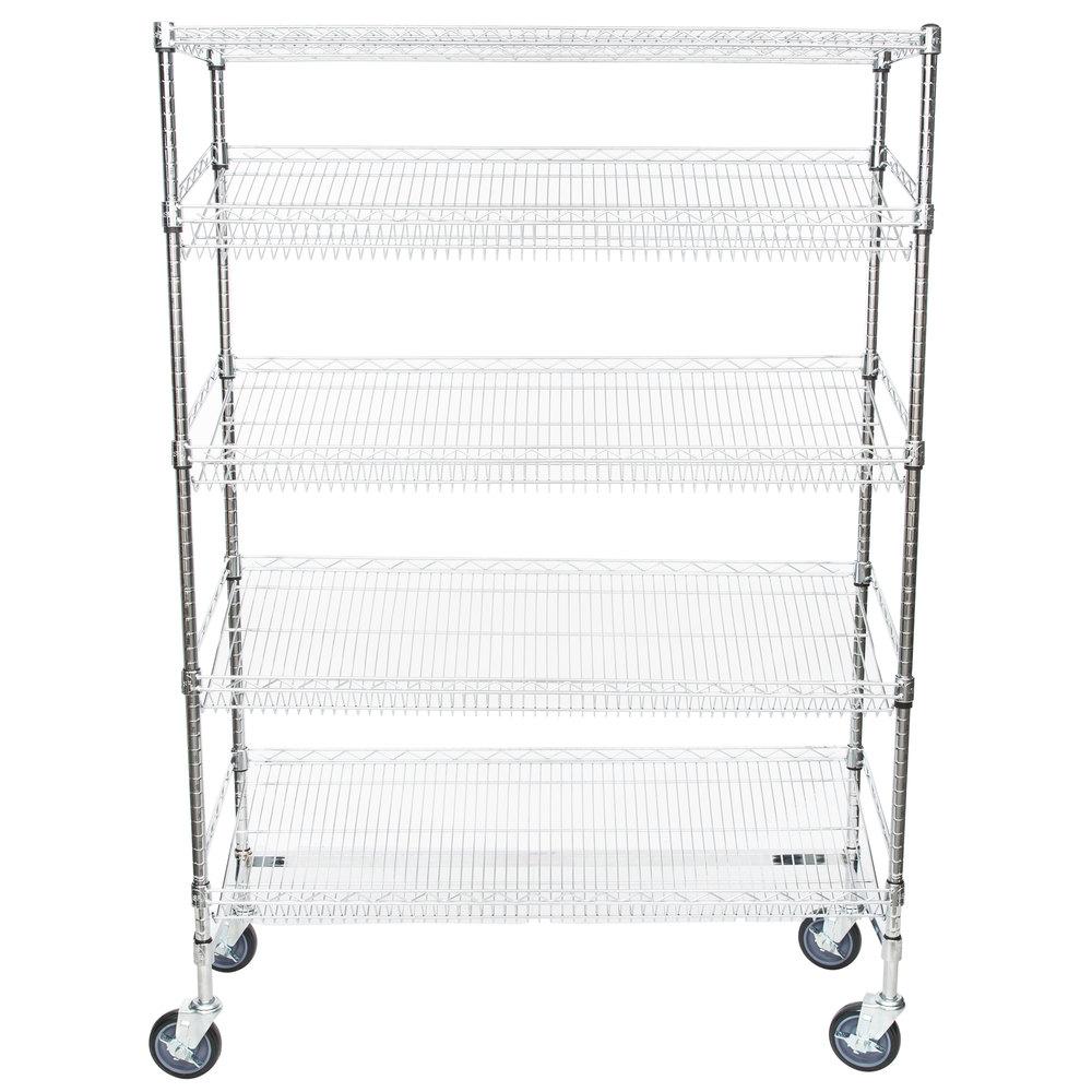 Regency Chrome 5-Shelf Angled Mobile Merchandising Rack - 18 inch x 48 inch x 69 inch