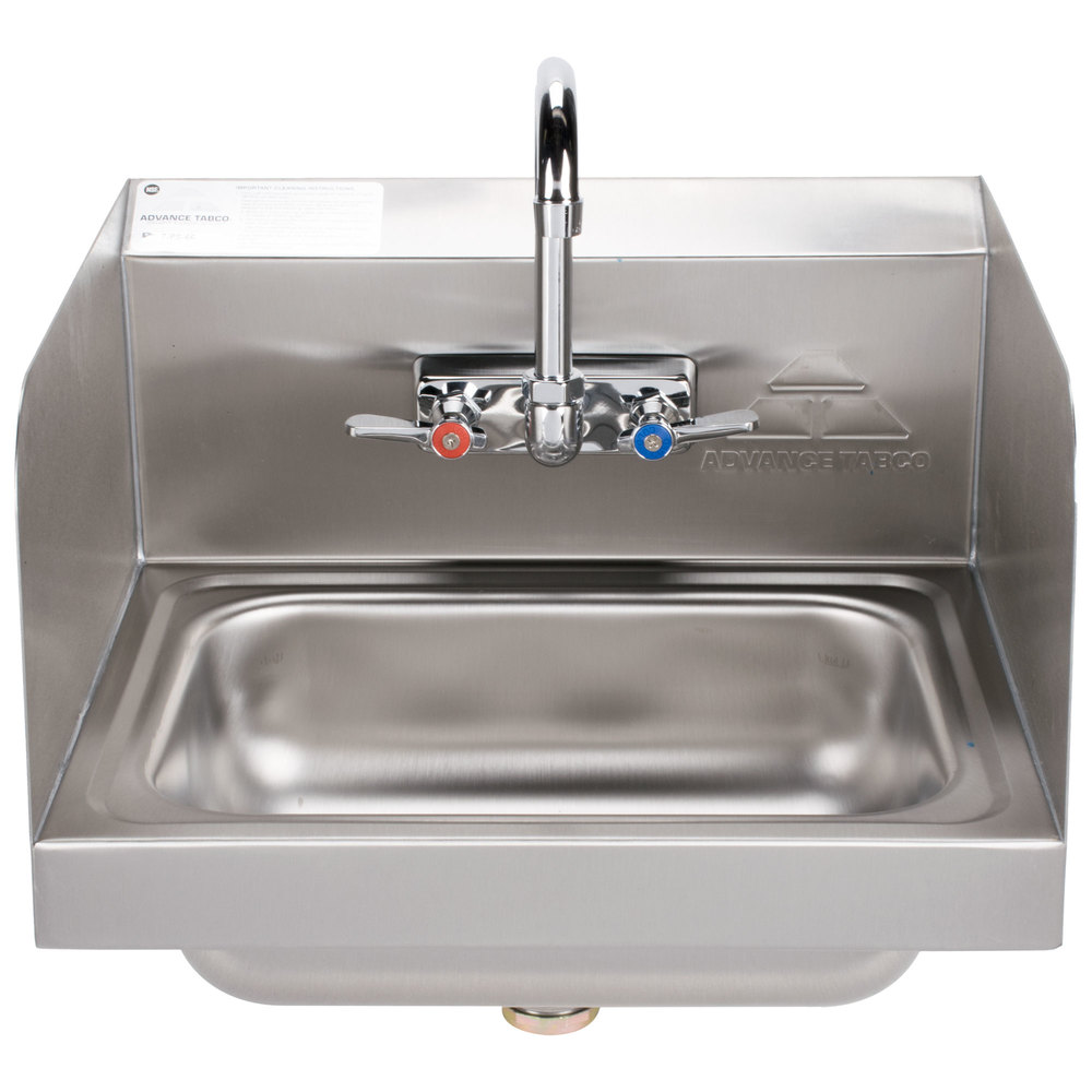 Advance tabco 7 ps 66 hand sink with splash mounted for Splash guard kitchen sink