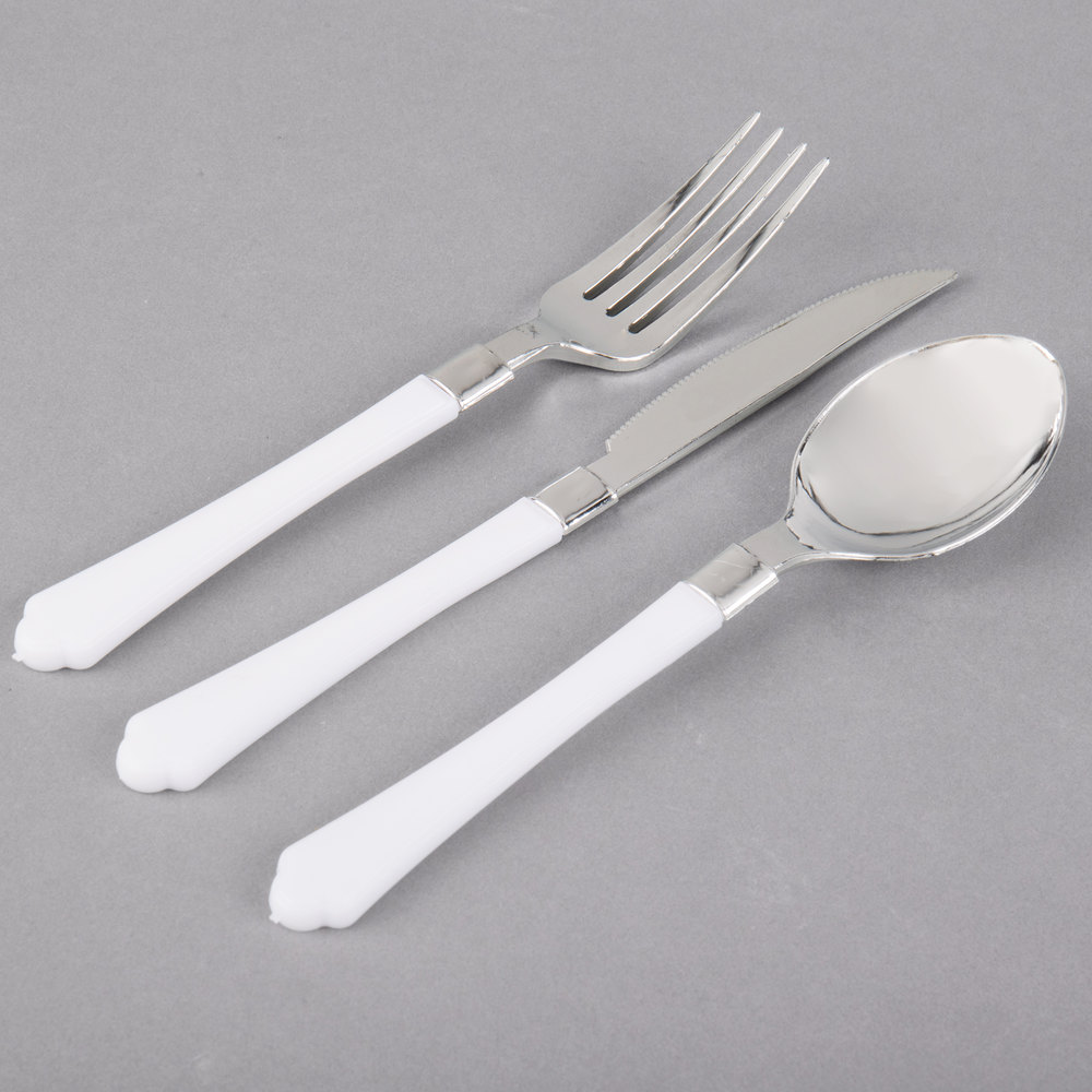 Silver Visions Heavy Weight White Handled Plastic Basic