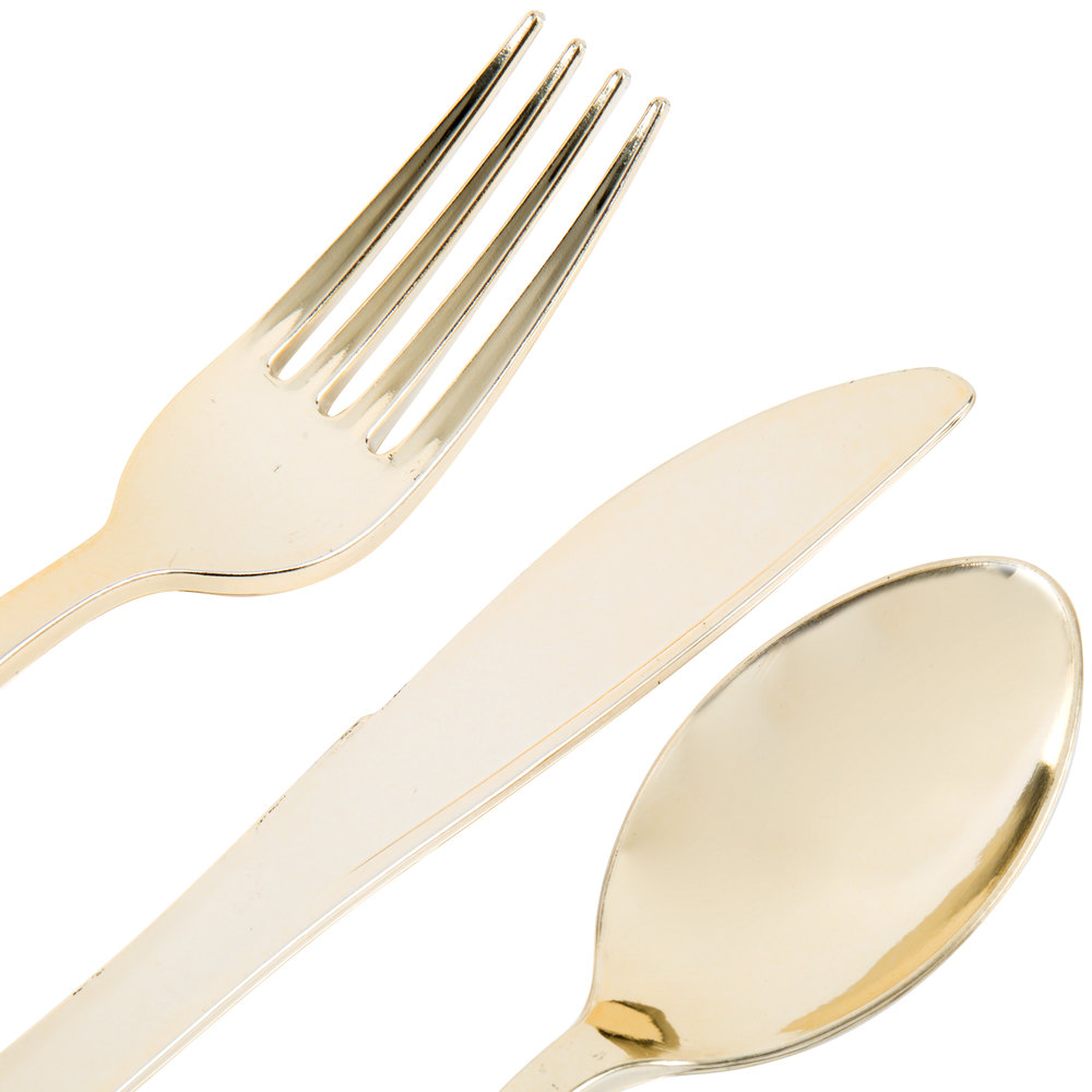 Gold Visions Heavy Weight Gold Look Plastic Basic Cutlery