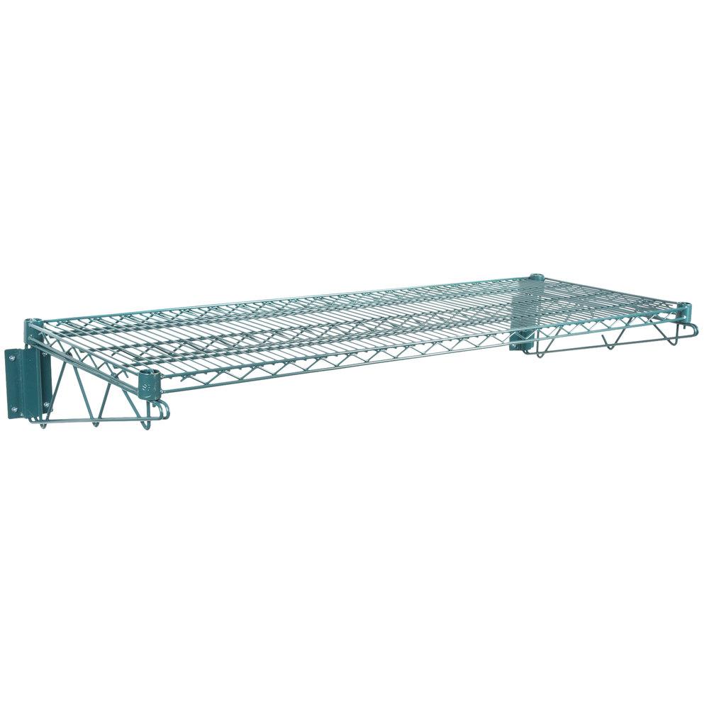 Regency 18 inch x 48 inch Green Epoxy Wire Wall Mount Shelf