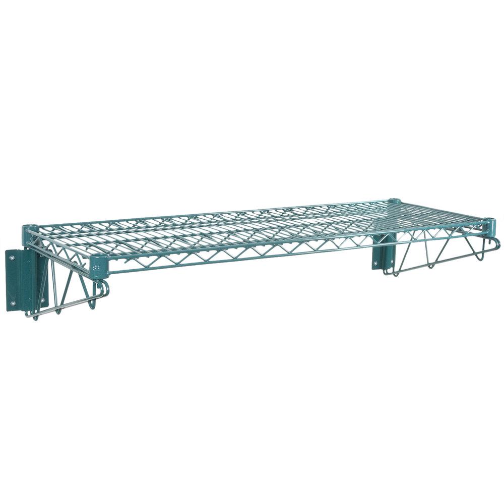 Regency 14 inch x 36 inch Green Epoxy Wire Wall Mount Shelf