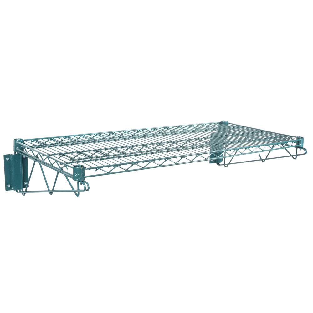 Regency 18 inch x 36 inch Green Epoxy Wire Wall Mount Shelf
