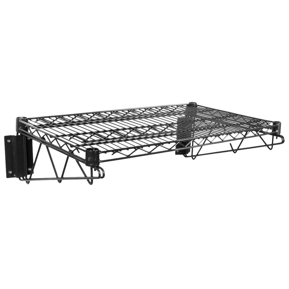 Regency 18 inch x 24 inch Black Epoxy Wire Wall Mount Shelf