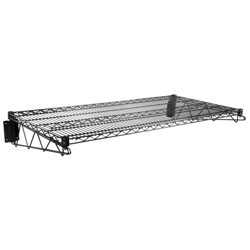 Regency 24 inch x 48 inch Black Epoxy Wire Wall Mount Shelf