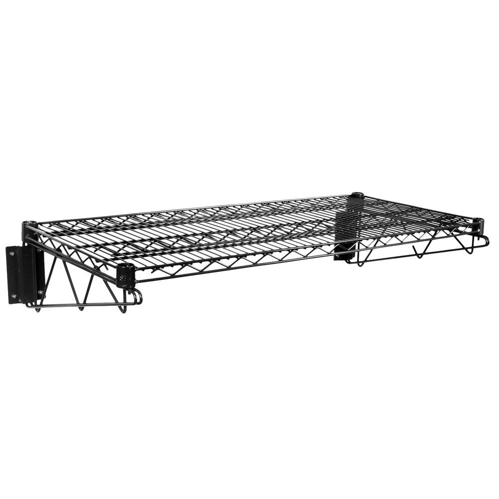 Regency 18 inch x 36 inch Black Epoxy Wire Wall Mount Shelf