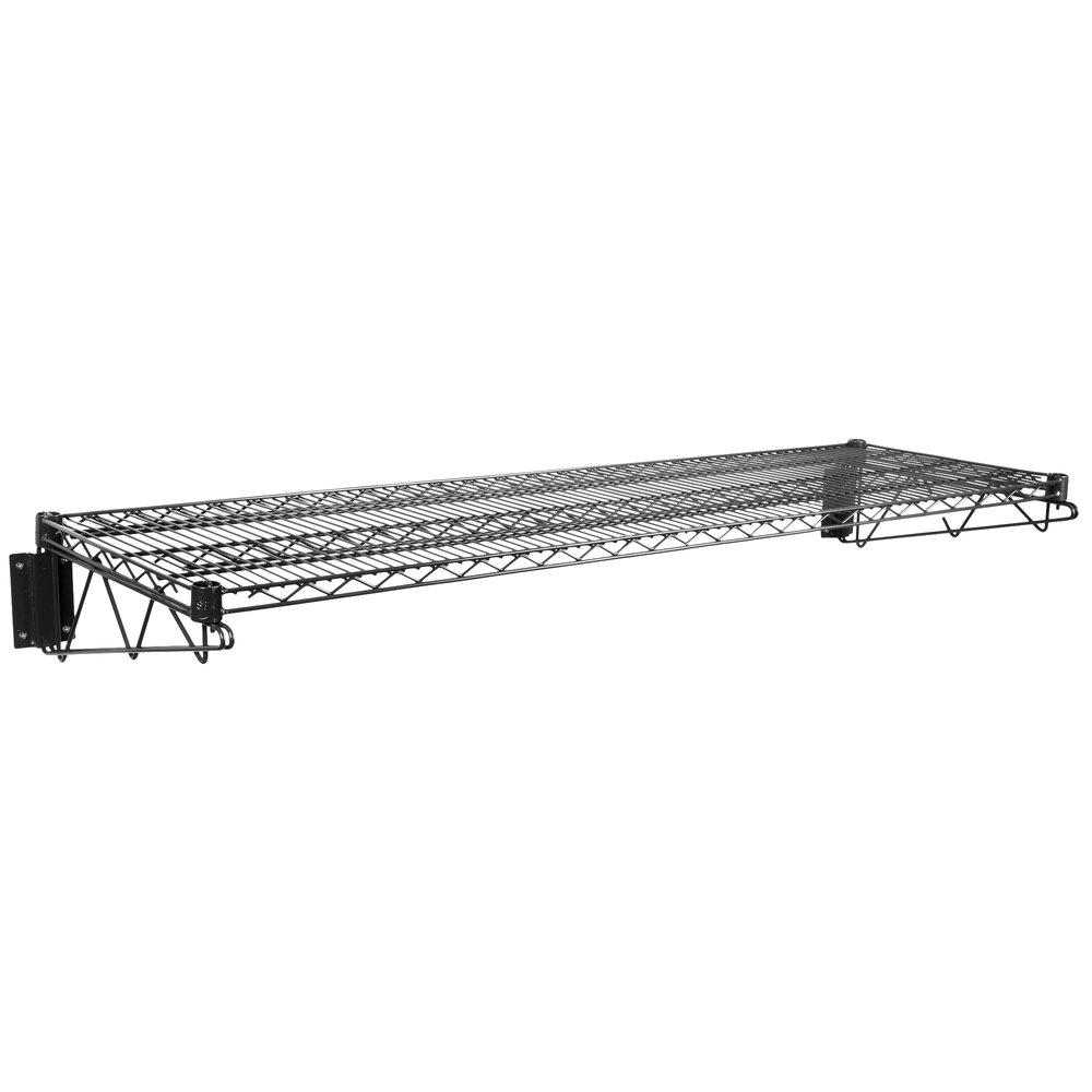 Regency 18 inch x 60 inch Black Epoxy Wire Wall Mount Shelf