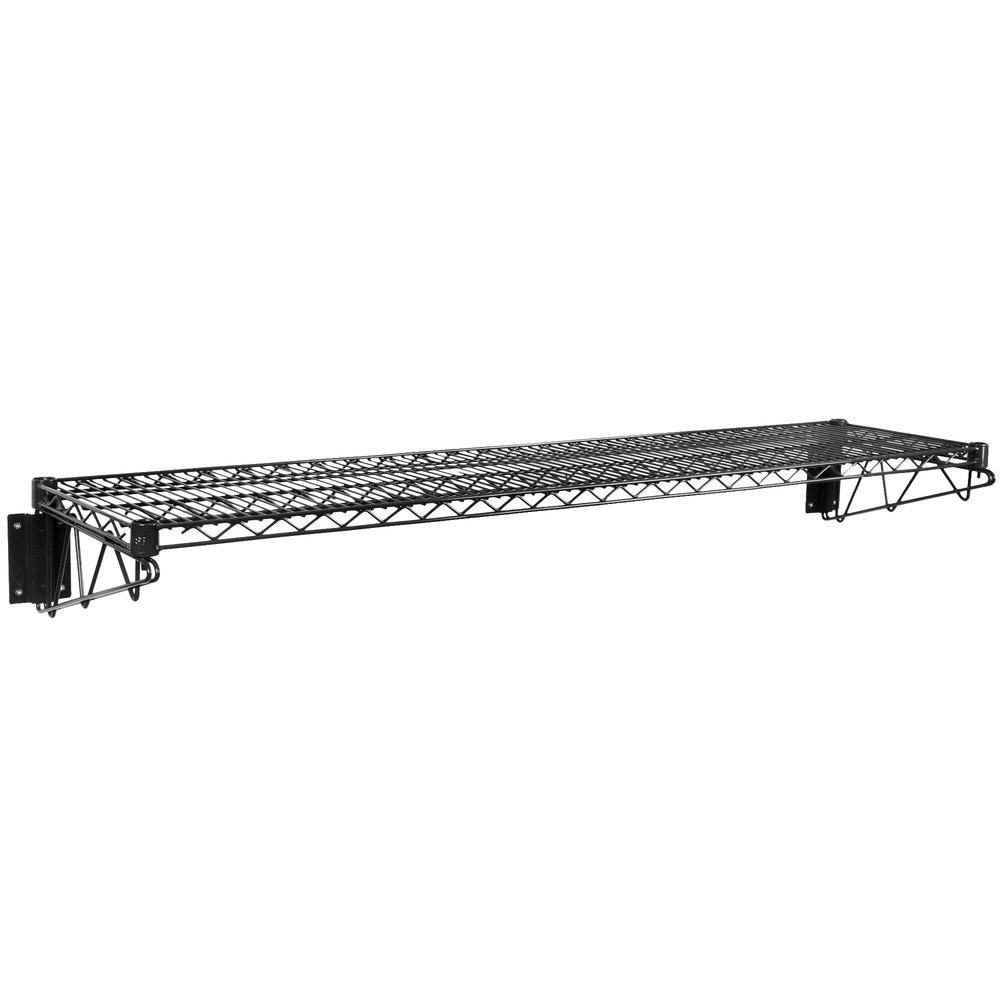 Regency 14 inch x 60 inch Black Epoxy Wire Wall Mount Shelf
