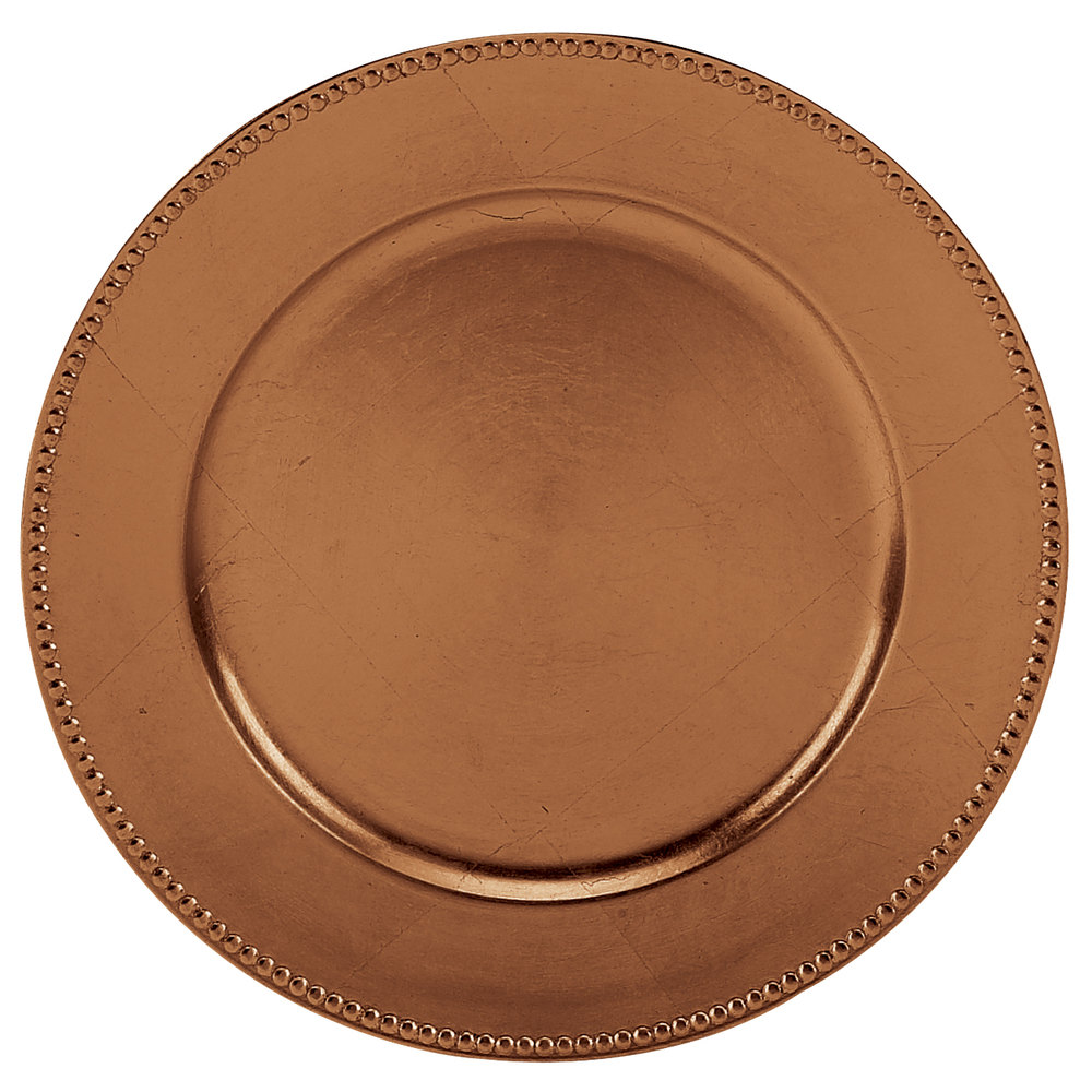Tabletop Classics TRC-6655 13 inch Copper Round Polypropylene Charger Plate with Beaded Rim  sc 1 st  WebstaurantStore & Tabletop Classics   Decorative Charger Plates