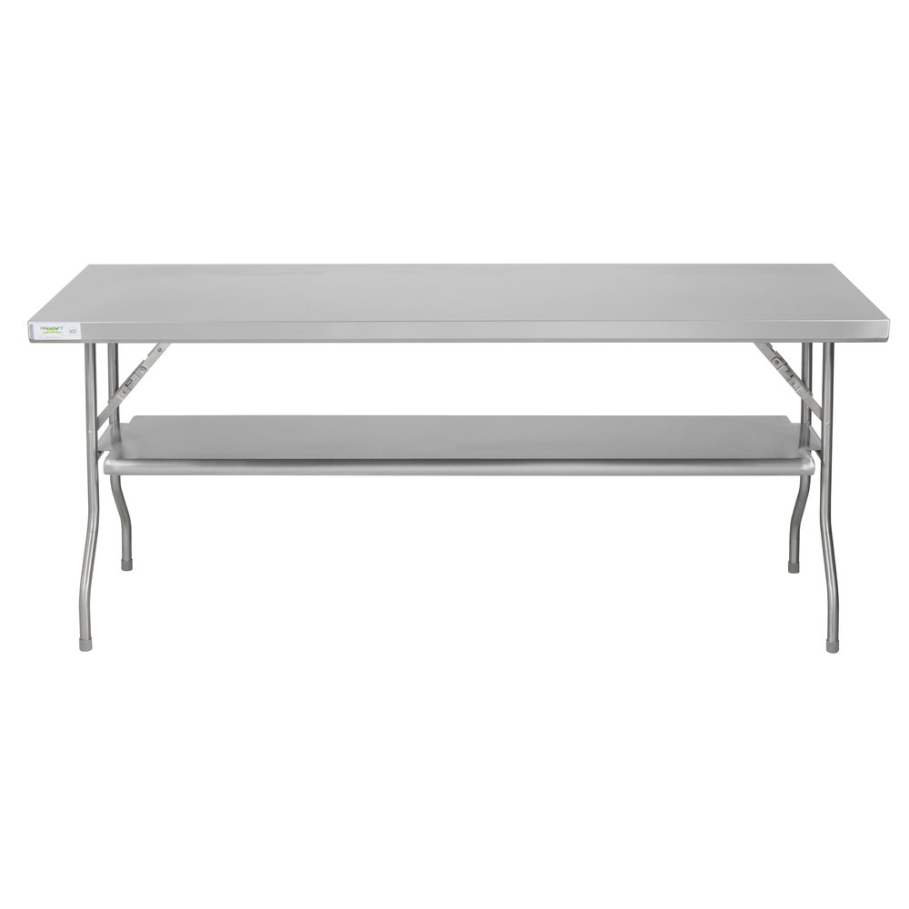 Regency 24 inch x 72 inch 18-Gauge Stainless Steel Folding Work Table with Removable Undershelf