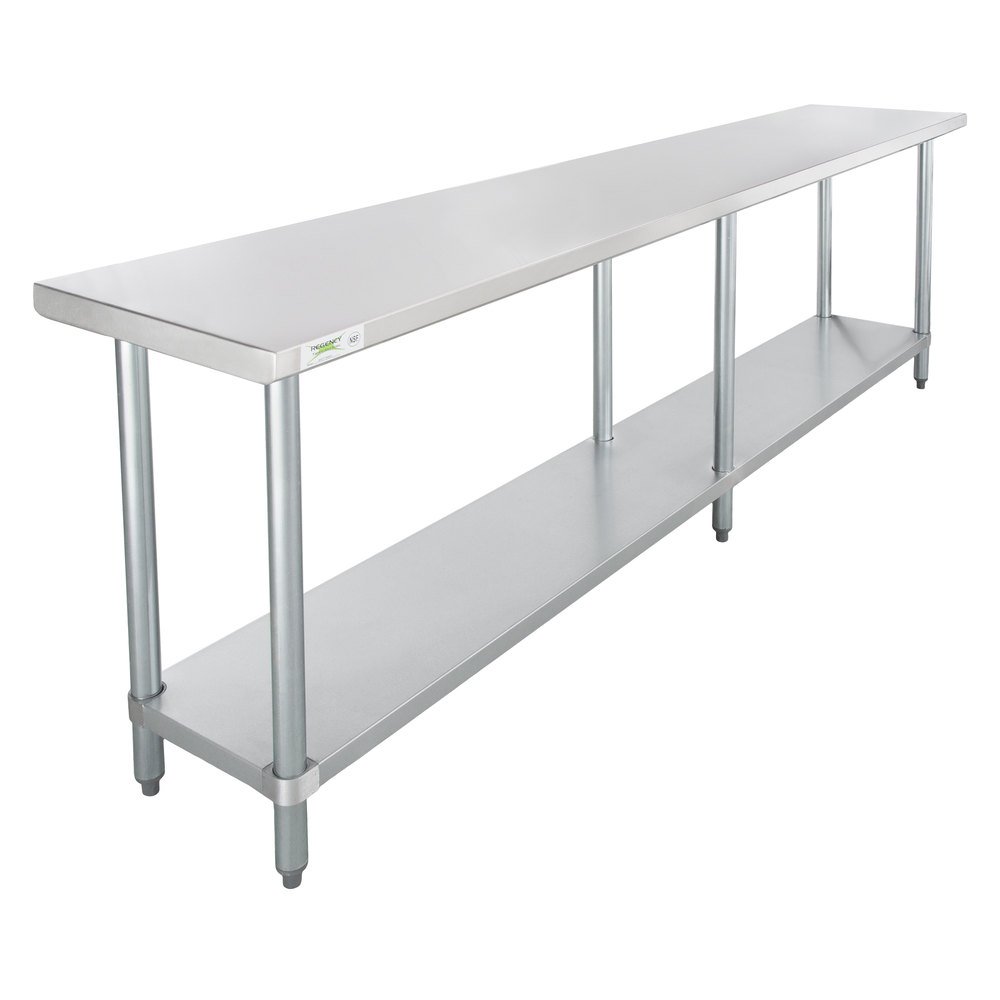 Regency 18 inch x 96 inch 18-Gauge 304 Stainless Steel Commercial Work Table with Galvanized Legs and Undershelf