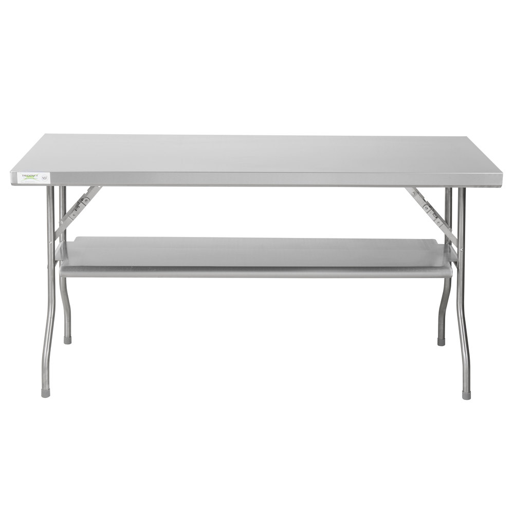 Regency 24 inch x 60 inch 18-Gauge Stainless Steel Folding Work Table with Removable Undershelf