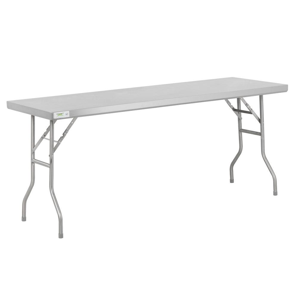 Regency 24 inch x 72 inch 18-Gauge Stainless Steel Open Base Folding Work Table