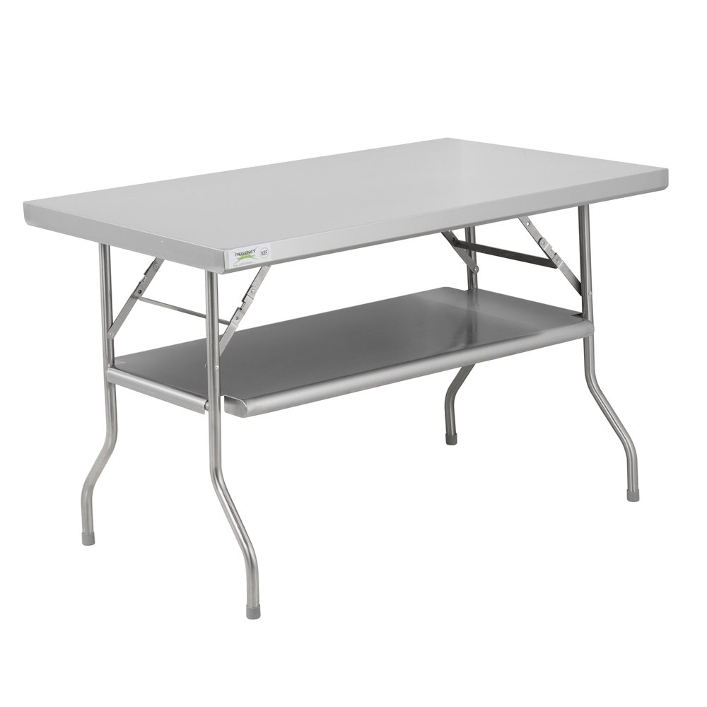 Regency 30 inch x 48 inch 18-Gauge Stainless Steel Folding Work Table with Removable Undershelf