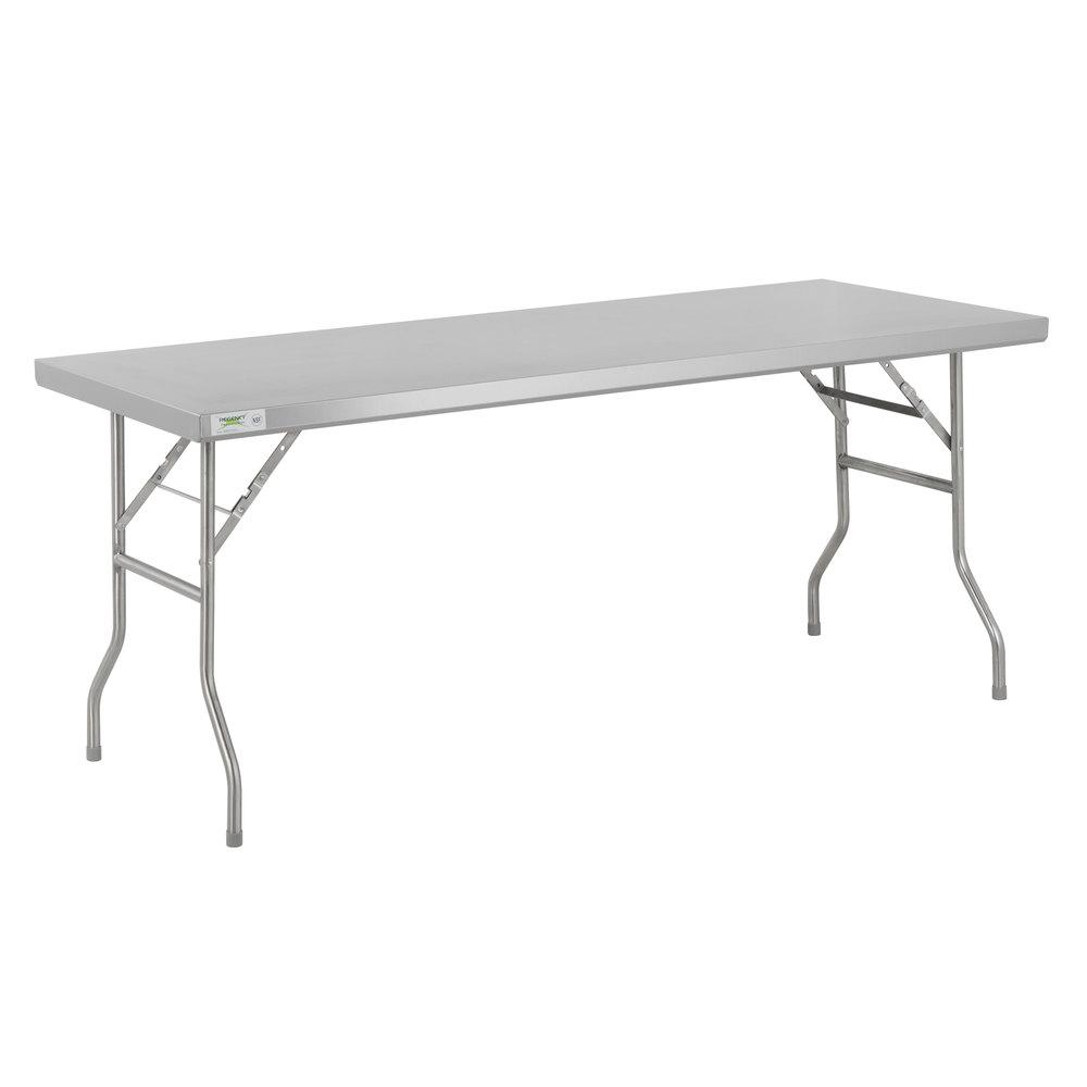Regency 30 inch x 72 inch 18-Gauge Stainless Steel Open Base Folding Work Table