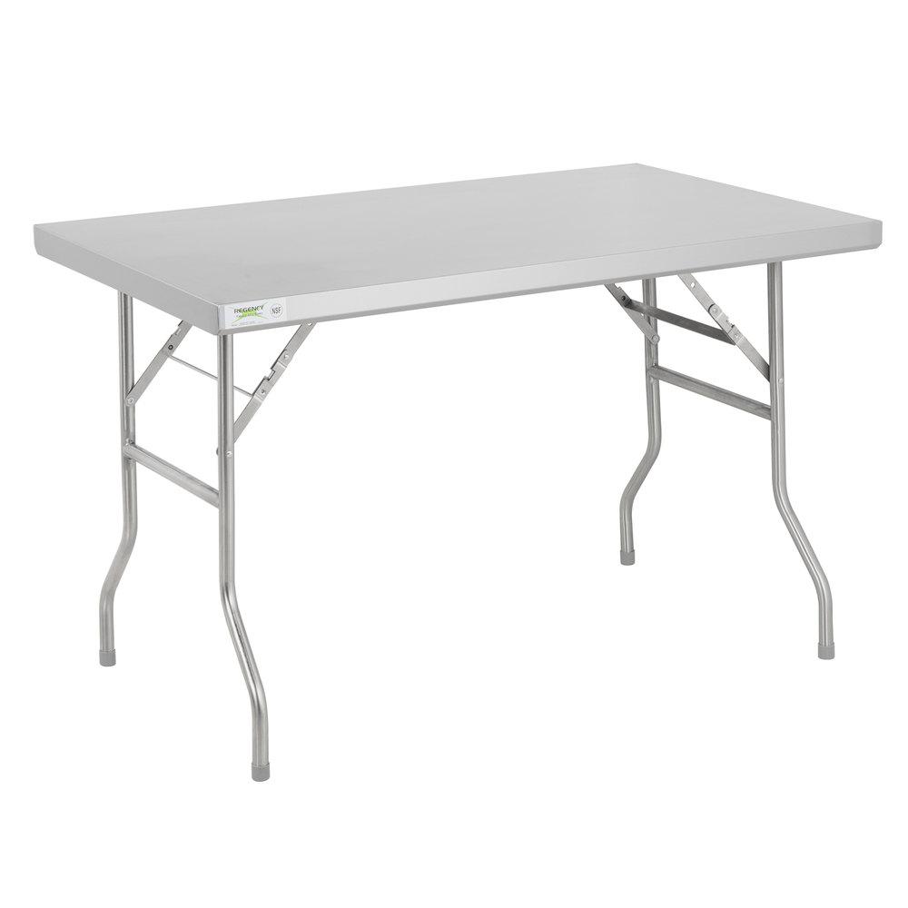 Regency 30 inch x 48 inch 18-Gauge Stainless Steel Open Base Folding Work Table