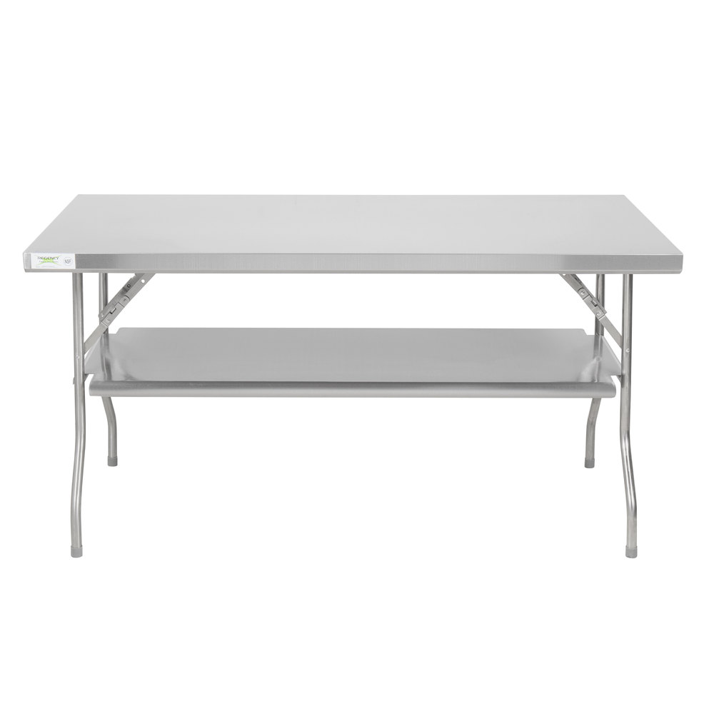 Regency 30 inch x 60 inch 18-Gauge Stainless Steel Folding Work Table with Removable Undershelf