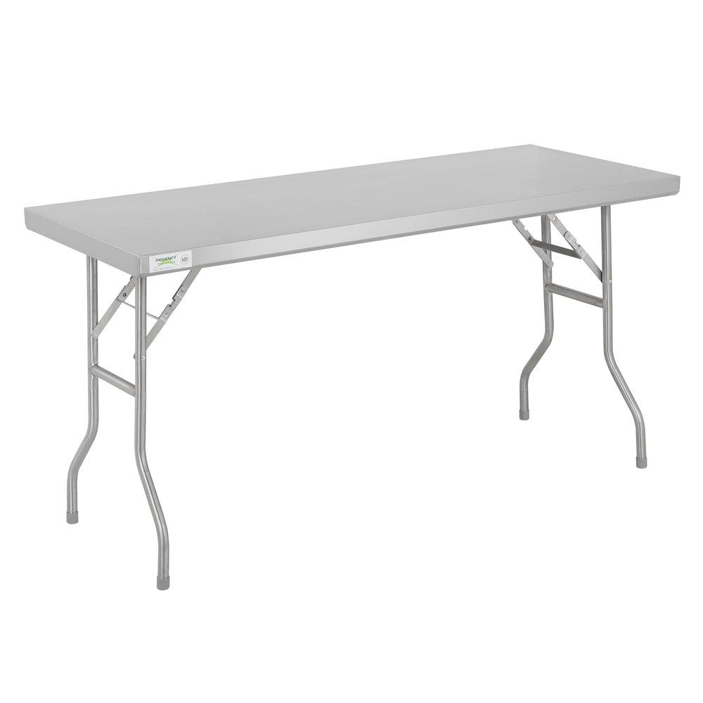 Regency 24 inch x 60 inch 18-Gauge Stainless Steel Open Base Folding Work Table