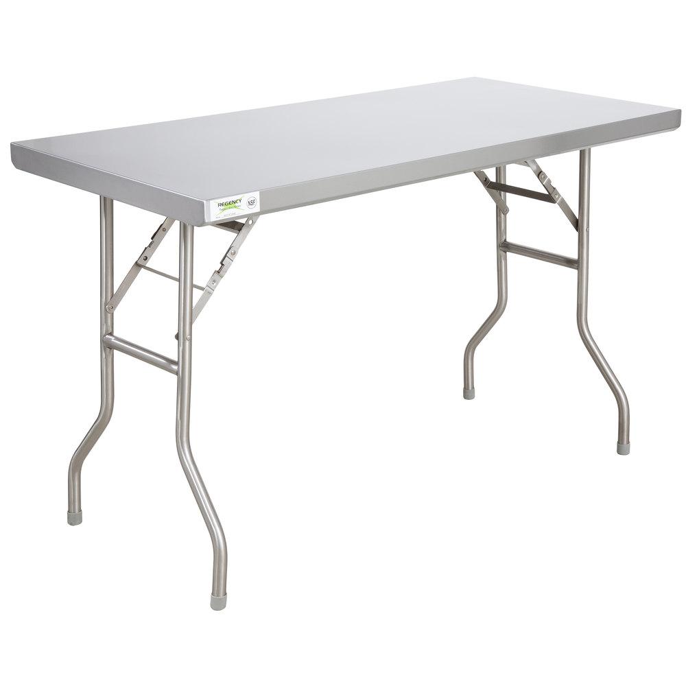 Regency 24 inch x 48 inch 18-Gauge Stainless Steel Open Base Folding Work Table