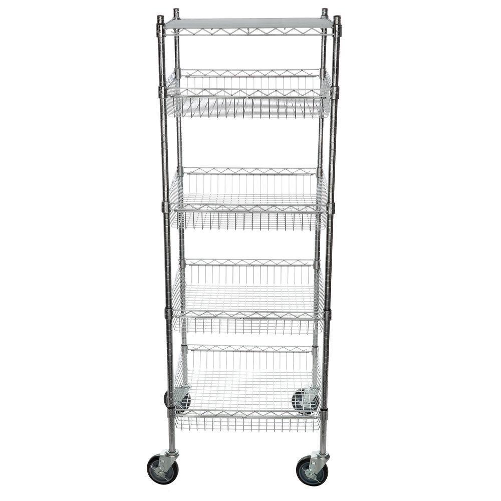 Regency NSF Chrome 4 Basket and 1 Shelf Kit - 24 inch x 24 inch x 69 inch