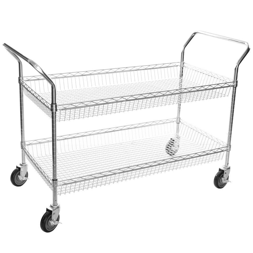 Regency Chrome Two Basket Utility Cart - 24 inch x 48 inch x 36 inch