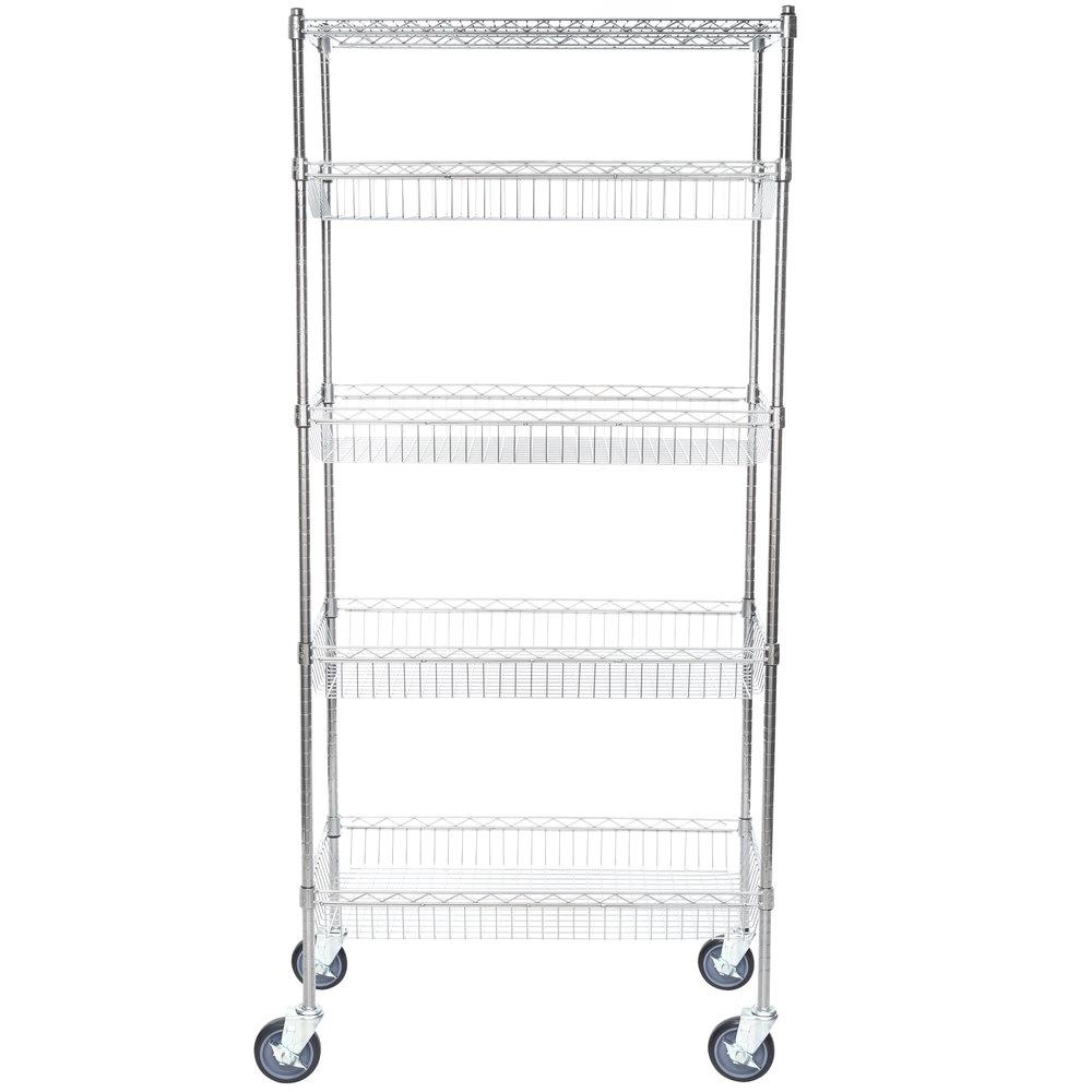 Regency NSF Chrome 4 Basket and 1 Wire Shelf Kit - 18 inch x 36 inch x 69 inch