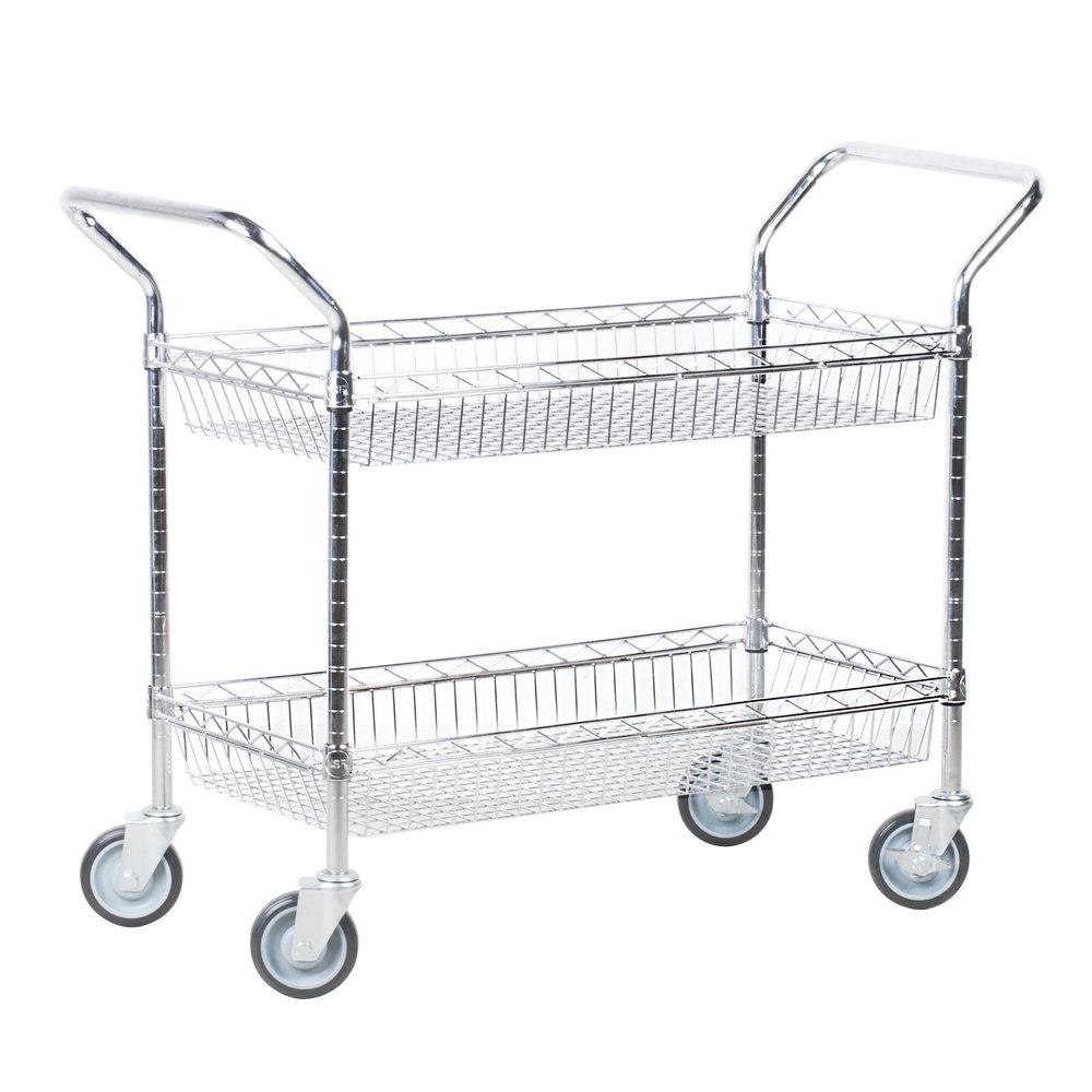 Regency Chrome Two Basket and One Shelf Utility Cart - 18 inch x 48 inch x 39 inch