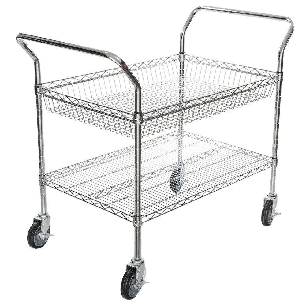 Regency Chrome One Shelf and One Basket Utility Cart - 24 inch x 36 inch x 36 inch