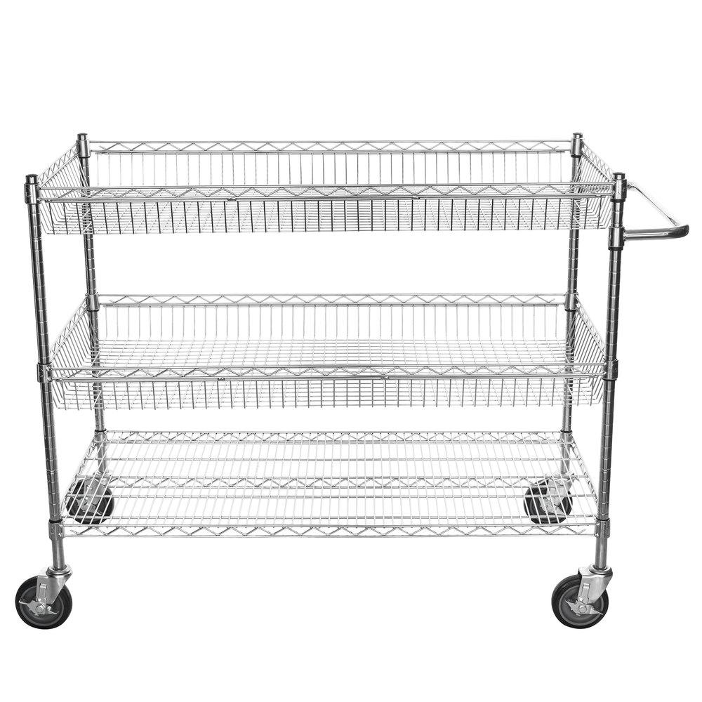 Regency Chrome Two Basket and One Shelf Utility Cart - 24 inch x 48 inch x 39 inch