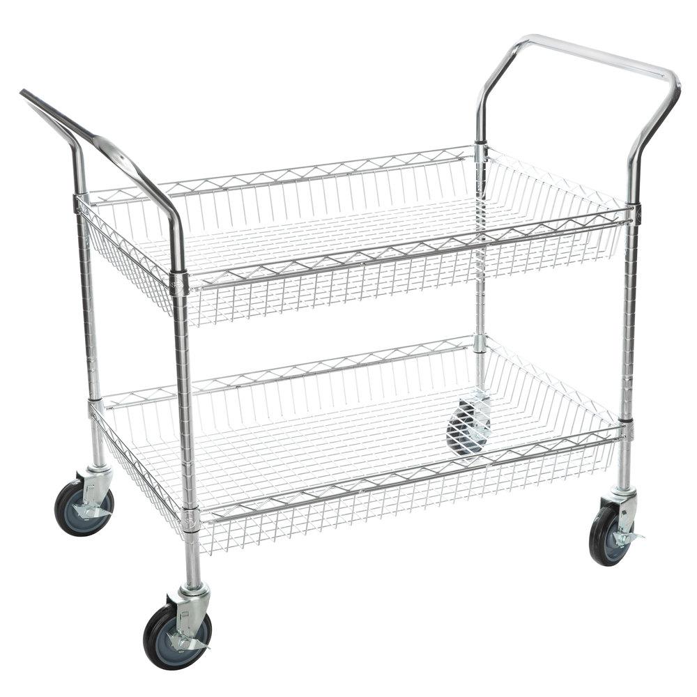 Regency Chrome Two Basket Utility Cart - 24 inch x 36 inch x 36 inch