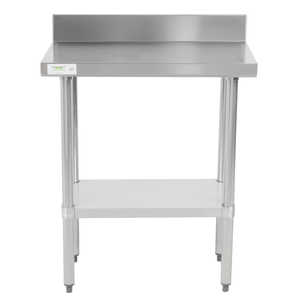 Regency 18 inch x 30 inch 18-Gauge 304 Stainless Steel Commercial Work Table with 4 inch Backsplash and Galvanized Undershelf