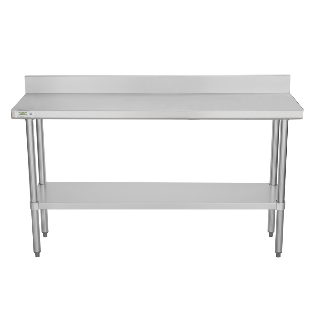 Regency 18 inch x 60 inch 18-Gauge 304 Stainless Steel Commercial Work Table with 4 inch Backsplash and Galvanized Undershelf