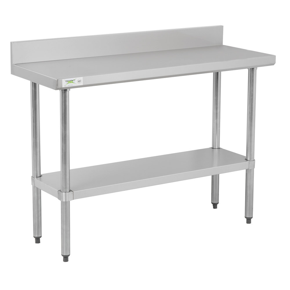 Regency 18 inch x 48 inch 18-Gauge 304 Stainless Steel Commercial Work Table with 4 inch Backsplash and Galvanized Undershelf