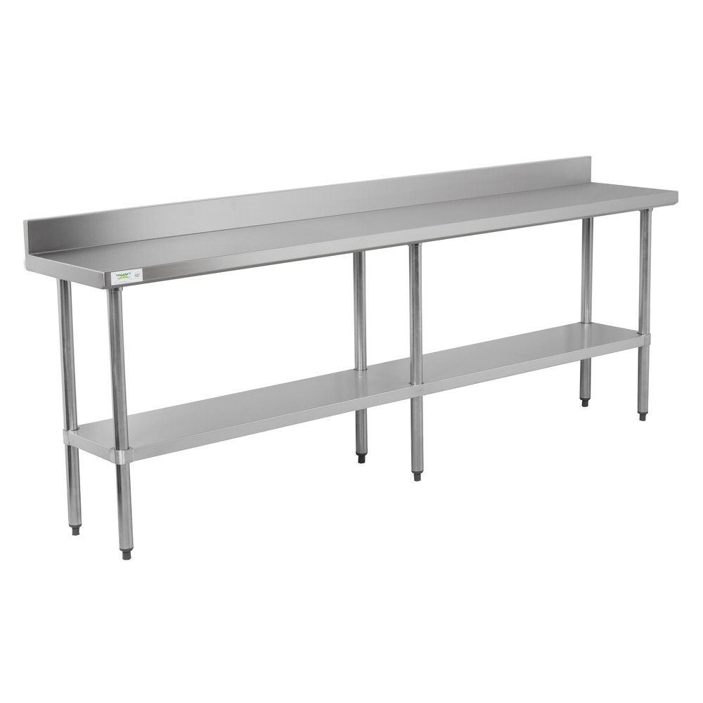 Regency 18 inch x 96 inch 18-Gauge 304 Stainless Steel Commercial Work Table with 4 inch Backsplash and Galvanized Undershelf