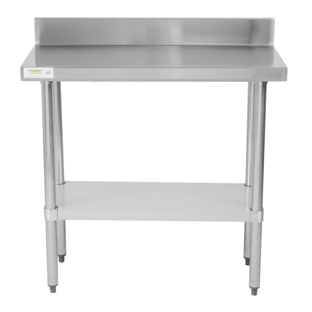 Regency 18 inch x 36 inch 18-Gauge 304 Stainless Steel Commercial Work Table with 4 inch Backsplash and Galvanized Undershelf