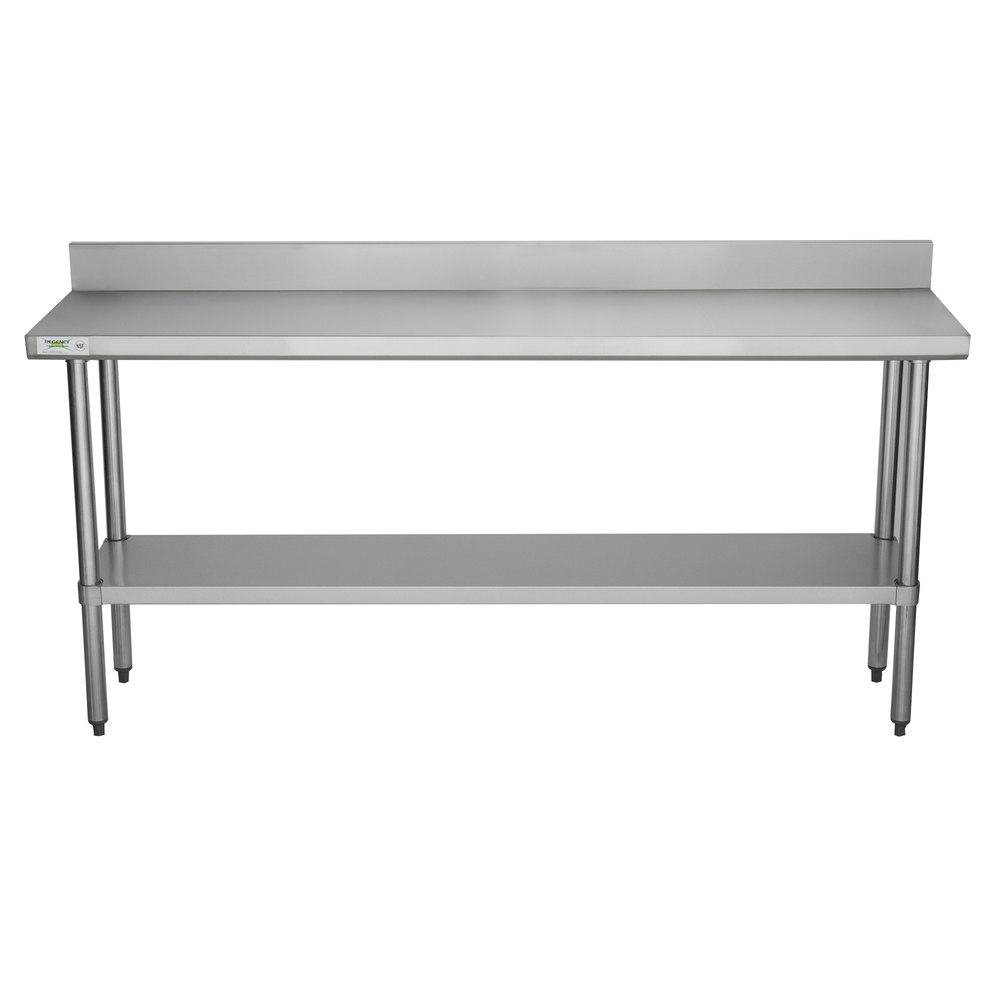 Regency 18 inch x 72 inch 18-Gauge 304 Stainless Steel Commercial Work Table with 4 inch Backsplash and Galvanized Undershelf