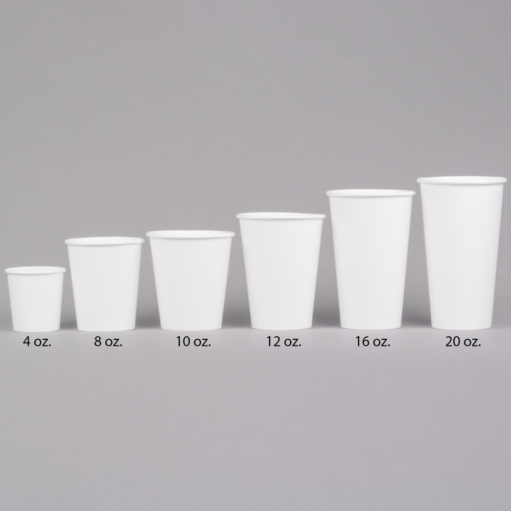 12 Cup Coffee Maker Equals How Many Ounces : Choice 4 oz. White Poly Paper Hot Cup - 50/Pack
