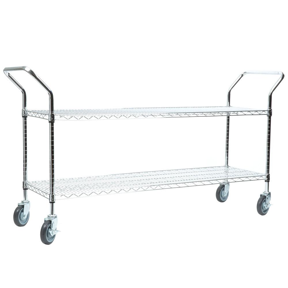 Regency 18 inch x 60 inch Two Shelf Chrome Heavy Duty Utility Cart