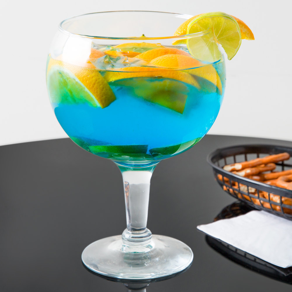 Libbey 3407 super stems 53 oz super schooner fish bowl for Restaurants with fish bowl drinks near me