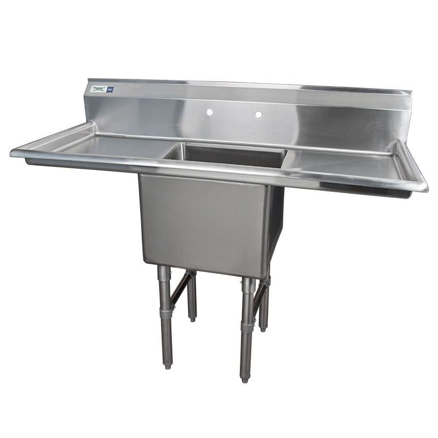 Regency 54 inch 16-Gauge Stainless Steel One Compartment Commercial Sink with 2 Drainboards - 18 inch x 18 inch x 14 inch Bowl