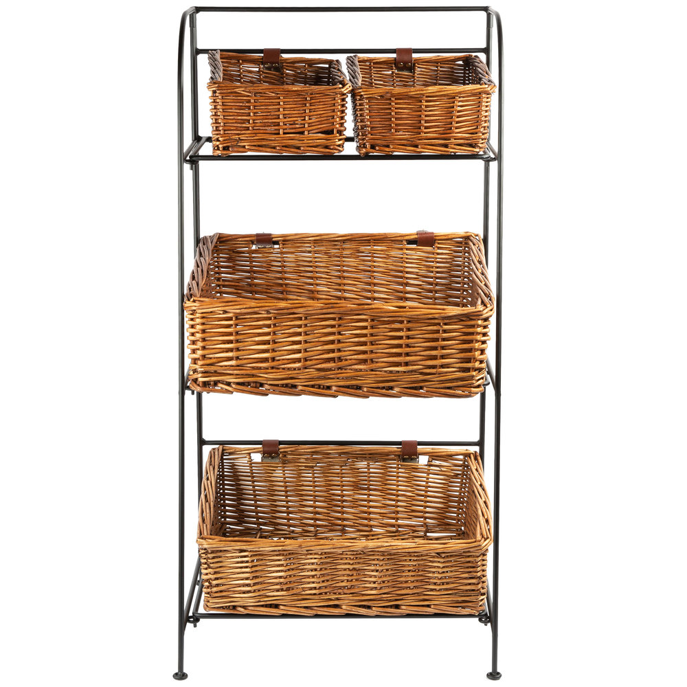 three tier metal stand with four baskets
