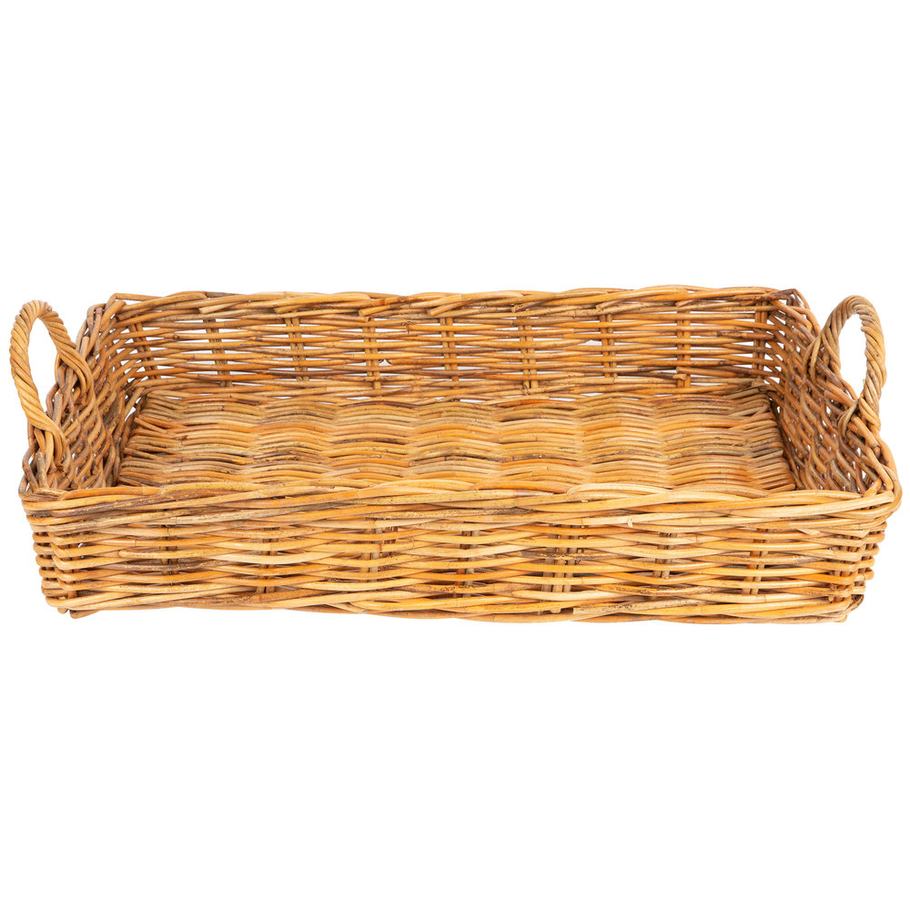 flat rectangular basket with handles