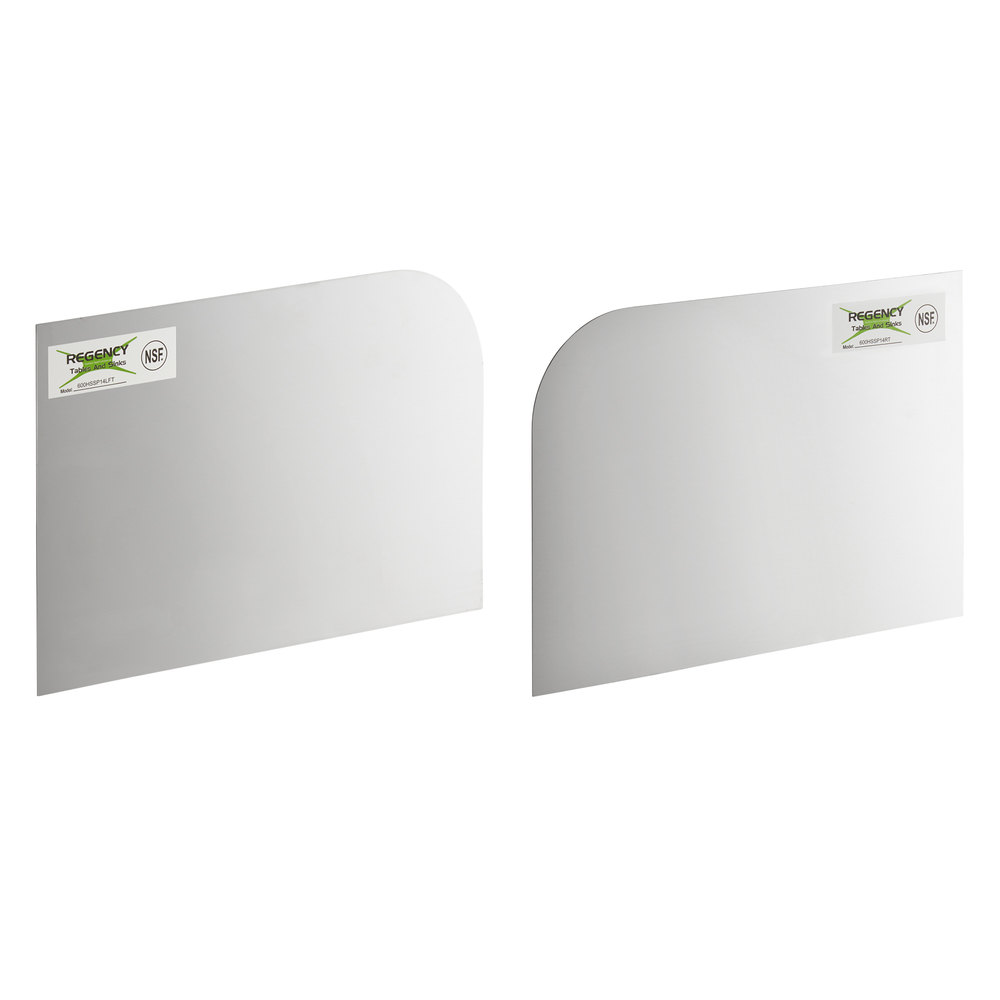 Regency 14 inch x 10 inch Left and Right Stainless Steel Hand Sink Splash Kit