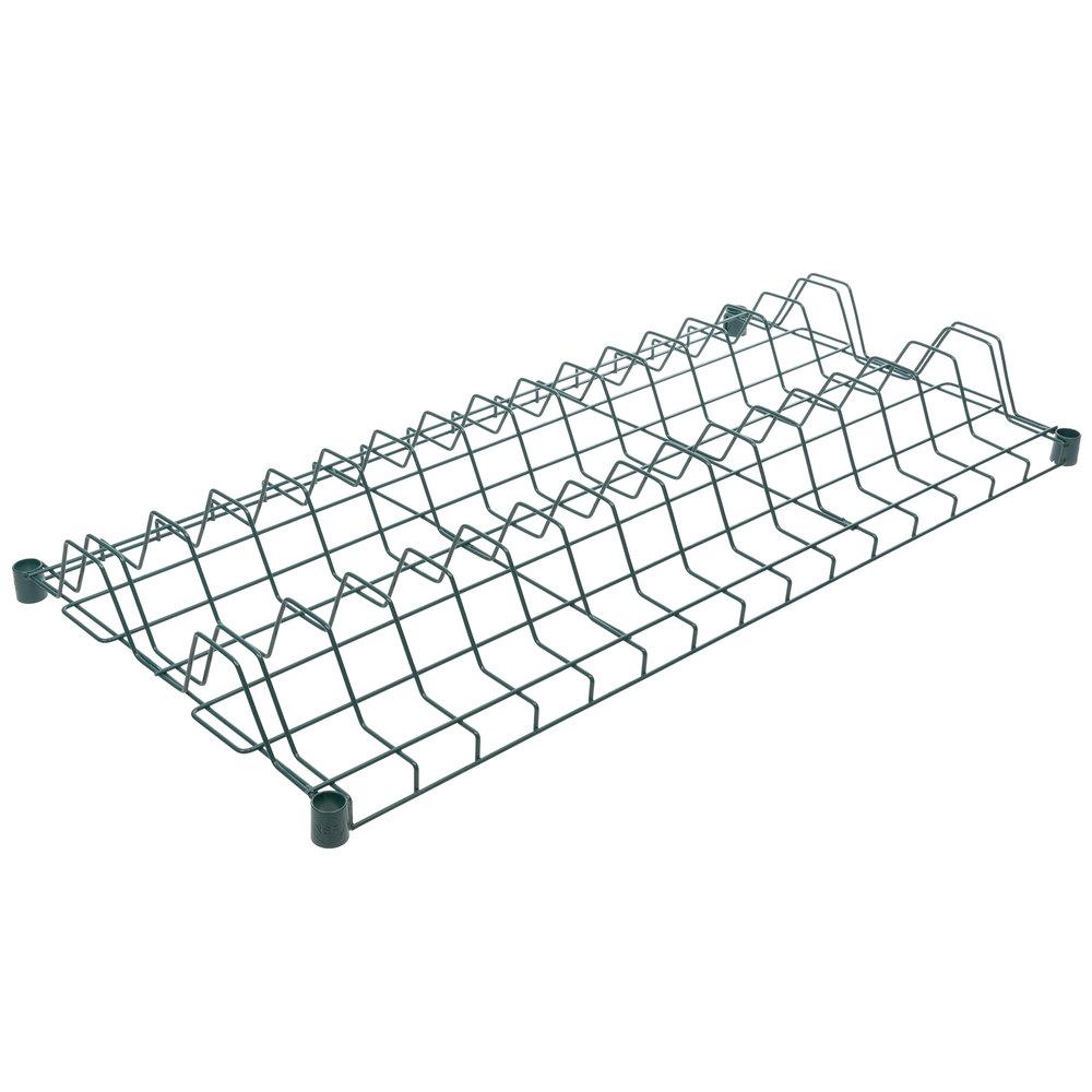 Regency 24 inch x 48 inch Green Epoxy Wire Drying Rack Shelf - 3 inch Slots