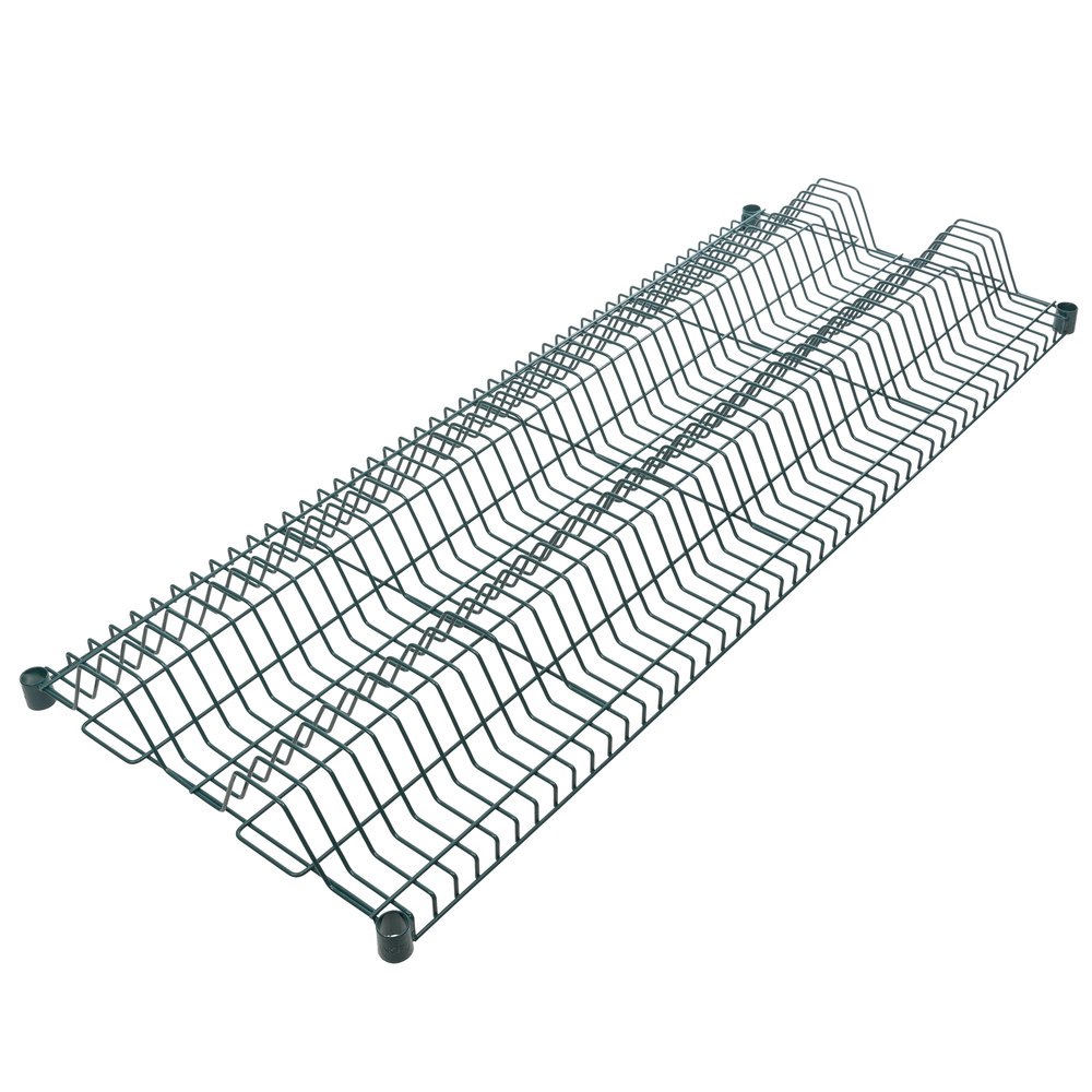 Regency 24 inch x 60 inch Green Epoxy Wire Drying Rack Shelf - 1 1/4 inch Slots
