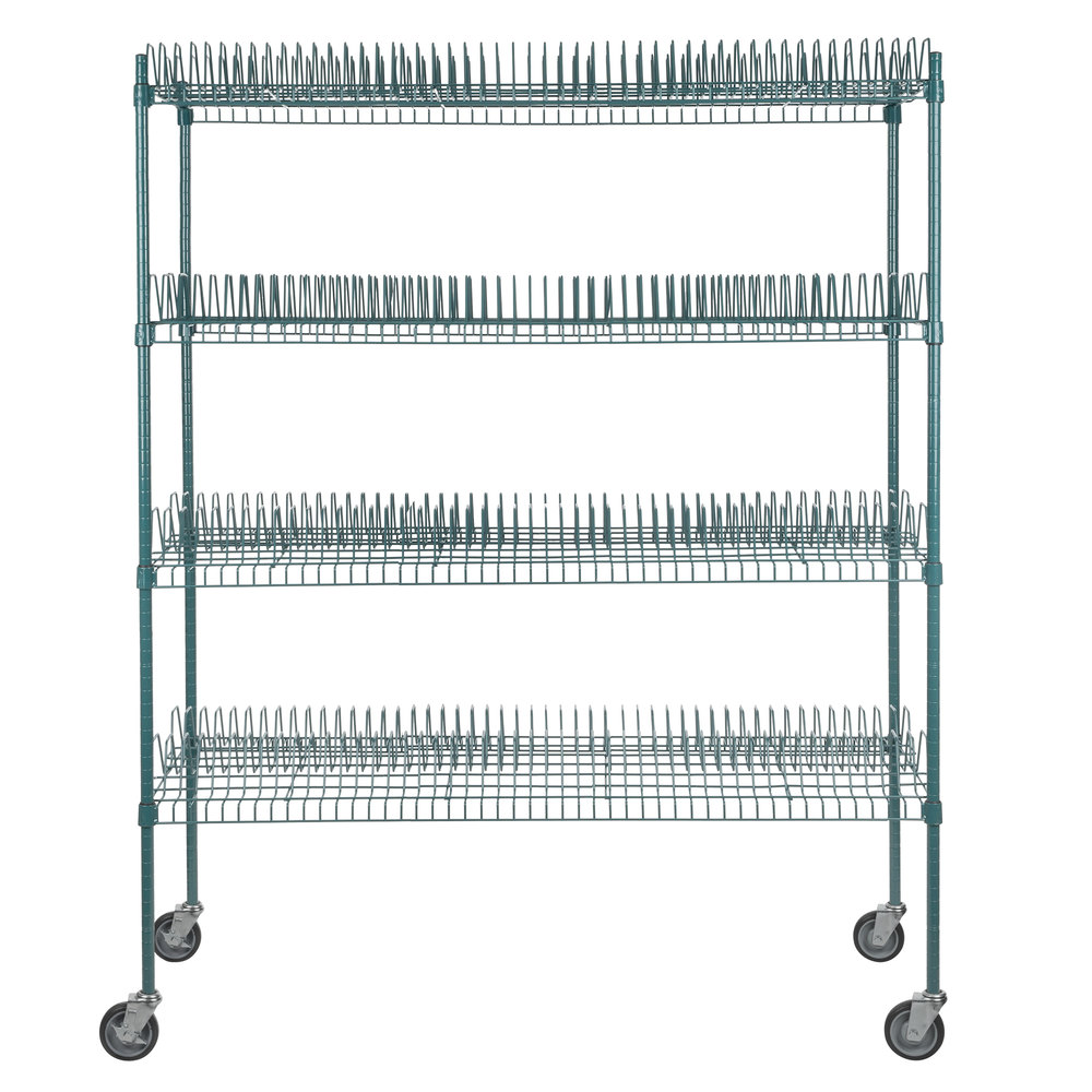 Regency 24 inch x 60 inch Green Epoxy Drying Rack Shelf Kit with 64 inch Posts and Casters - 1 1/4 inch Slots