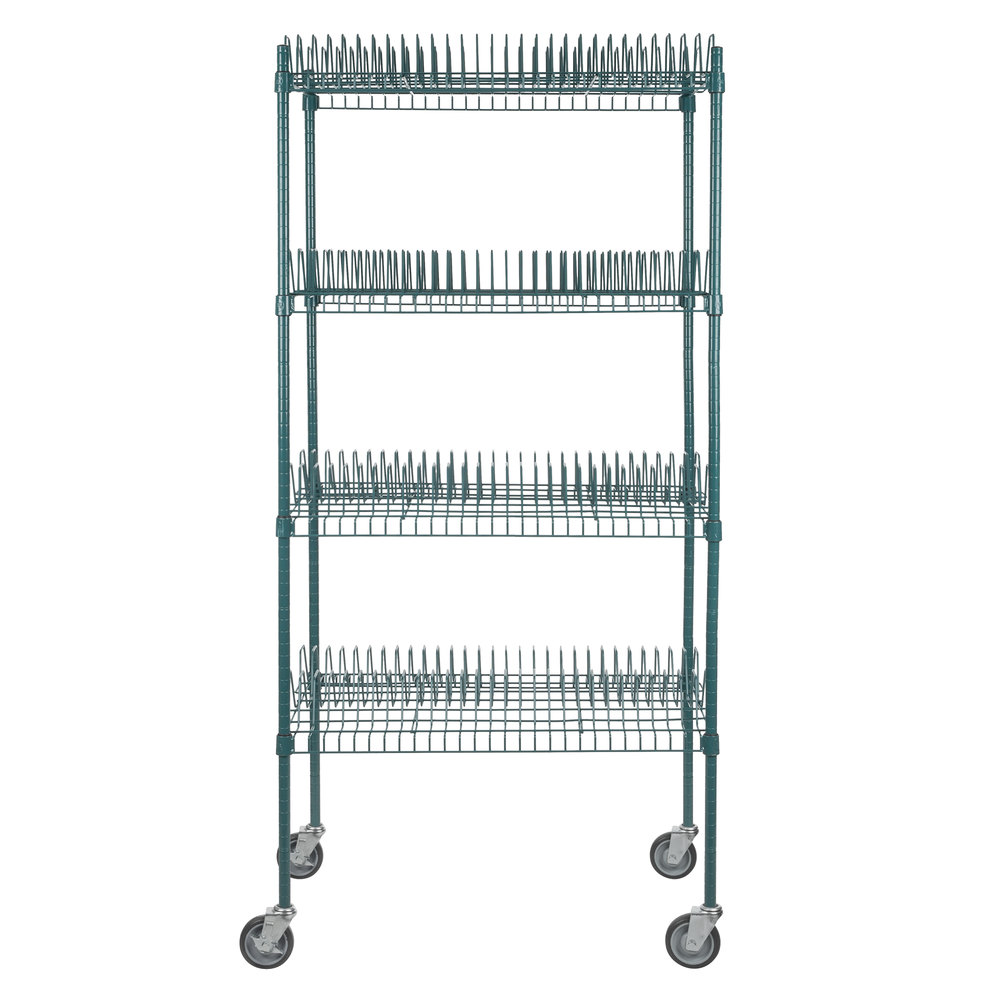 Regency 24 inch x 36 inch Green Epoxy Drying Rack Shelf Kit with 64 inch Posts and Casters - 1 1/4 inch Slots
