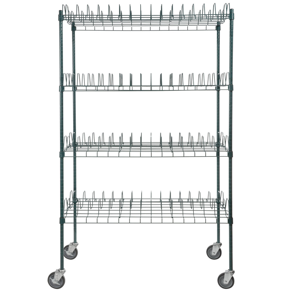 Regency 24 inch x 48 inch Green Epoxy Drying Rack Shelf Kit with 64 inch Posts and Casters - 3 inch Slots