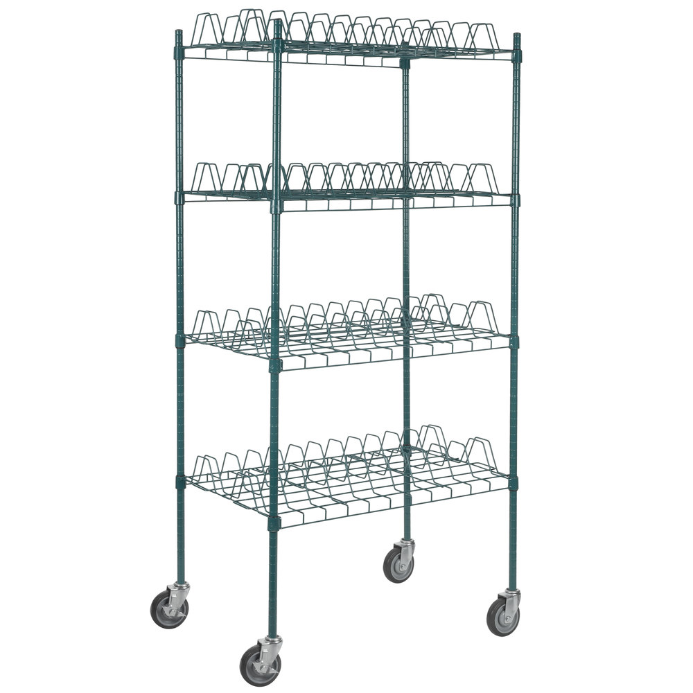 Regency 24 inch x 36 inch Green Epoxy Drying Rack Shelf Kit with 64 inch Posts and Casters - 3 inch Slots